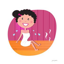 Girl in sauna : pink wellness edition