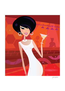 """Manhattan woman"" vintage Art Illustration"