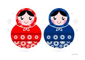Hand drawn cute folk Matroska collection