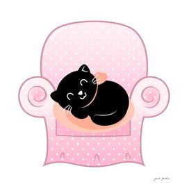 Hand drawn vintage cat on pink Sofa
