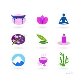 Wellness stylish icons : pink, green