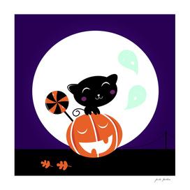 New black cat on pumpkin head