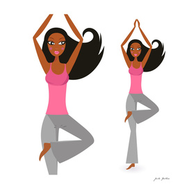 Hand drawn yoga girl : pink grey