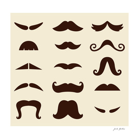 Brown vintage mustaches 60s