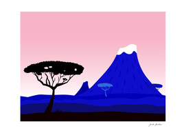 Africa wallart collection : blue pink