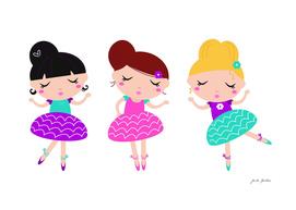 Hand drawn stylish ballet girls