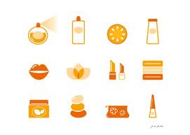 Wellness orange icons / white orange
