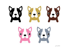 Cute handdrawn Dogs on white