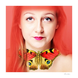 red hair and buttefly