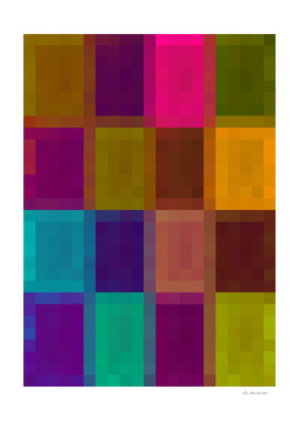 geometric pixel abstract in brown purple green blue