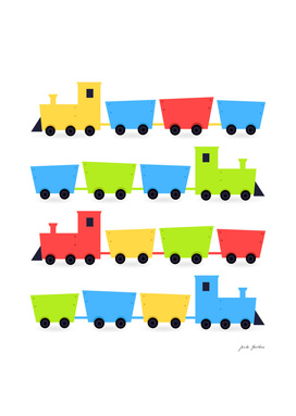 Kids trains edition : colorful red, yellow