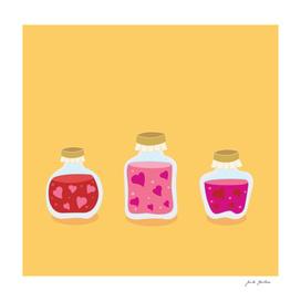 Cute hand-drawn Folk bottles