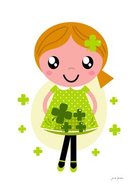 Four leaves clover green Girl