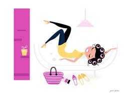 Lying girl on sofa : pink gold