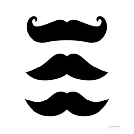 Stylish cute Mustaches : black and white