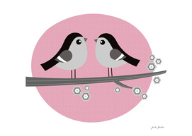 2 LOVE BIRDS : Kids art Illustration