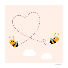 2 cute bees with Heart / Pink