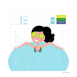 Wellness girl in whirlpool