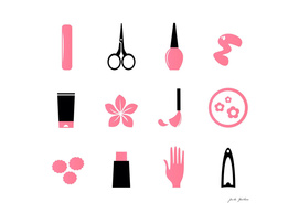 Wellness ICONs in creative shop : black, pink