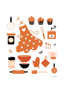 Cute kitchen icons : brown