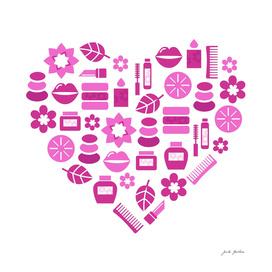 Cute wellness Heart : PINK on white