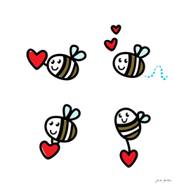 Stylish cute bee characters