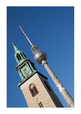 Berlin radio tower and church