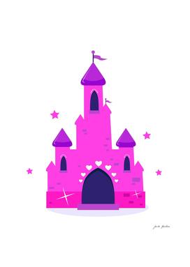 Stylish cute hand-drawn Castle / Pink!