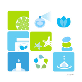 New wellness icons : blue and green