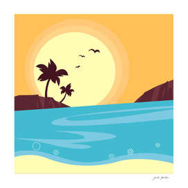 Vintage beach and sunset / Original theme