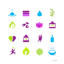 Cute wellness ICONS on white