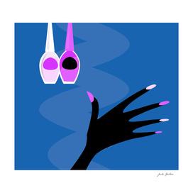 Stylish manicure silhouette 60s / blue