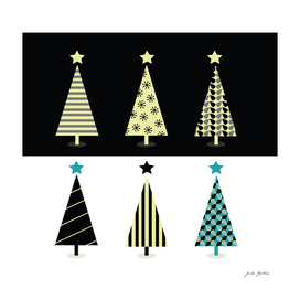 Xmas hand-drawn vintage trees