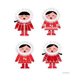 New cute hand-drawn Eskimo characters