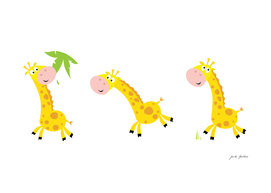 Cute handdrawn Giraffes on white