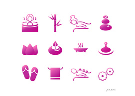 Wellness icons : pink on white