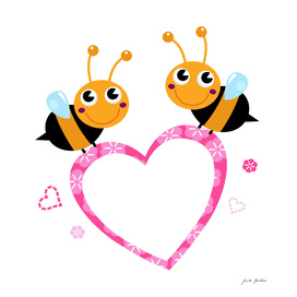 2 cute wonderful bees on white