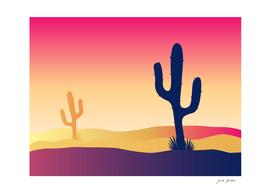 Mexico cactus : orange, dark silhouette