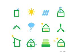 Eco green icons / on white