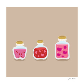 Cute hand-drawn jars with fruit / pink red
