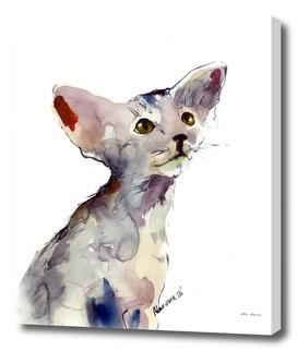 Oriental Kitten watercolor painting