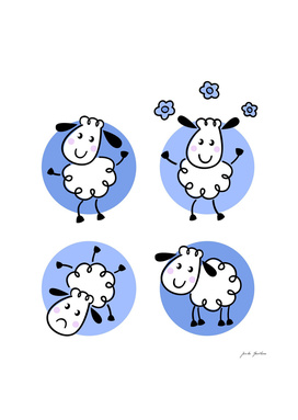 Cute kids design in Shop : blue and white Sheeps