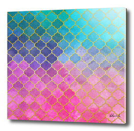 Blue and pink golden pattern