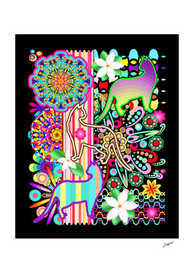 Mandalas, Cats and Flowers Fantasy Patchwork