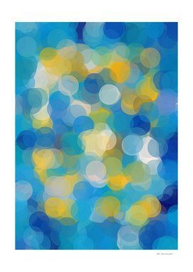blue and yellow circle abstract pattern background