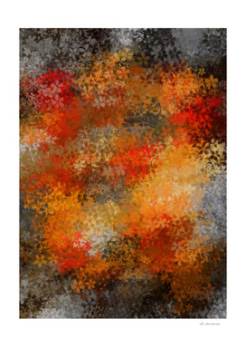 flower pattern abstract background in orange and black