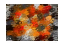 orange and black lipstick kisses background
