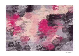 pink and black lipstick kisses abstract background