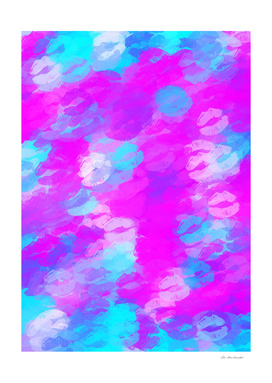 pink and blue lipstick kisses abstract background