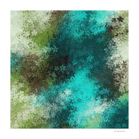 drawing flower pattern abstract in green blue brown